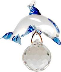 Glass Blue & Clear Dolphin