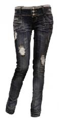 3 button skinny jeans dark