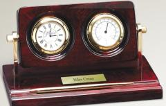 Rosewood Piano Wood Desk Clock With Thermometer