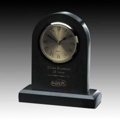 "7-3/4"" Black Marble Tombstone Clock"