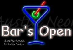 Neon Sign Bar's OPEN with Martini Glass 15x20