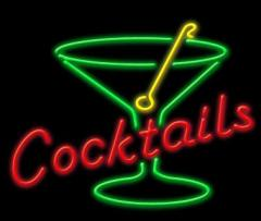 Cocktails Neon Sign with Martini Glass