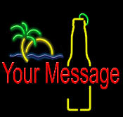 Custom Beer Bottle with Sunset Neon Sign