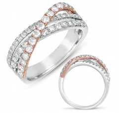 D4262WR White & Rose Gold Fashion Ring