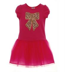 Knit Dress with Animal Print Bow Applique