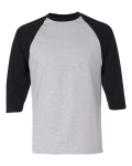 Heather Grey Black 3/4 Sleeve Raglan Baseball