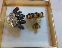 10DIAS .30CTW 14K Sapph Earrings