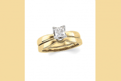 Princess-Cut Diamond Solitaire Tulipset Ring