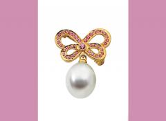 Genuine Pink Sapphire Semi-mount Brooch