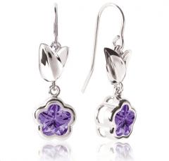 BFlower Purple CZ Dangle Earrings