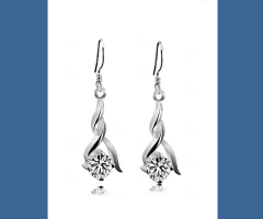 Fashion Rhinestone Silver Plated Earrings
