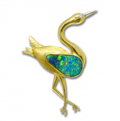 Dancing Crane Brooch