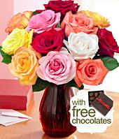 One Dozen Rainbow Roses with Chocolates