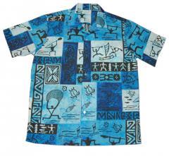 Blue Fishing Cotton Blended Men Shirt
