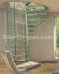 Spiral stairs in glass