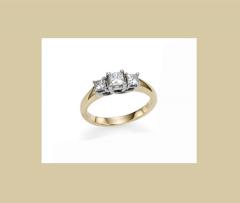 Three Stone Four Prong Princess Ring
