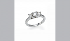 Three Stone Four Prong Round Ring