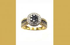 10ct Blue & White Diamond Cluster Ring