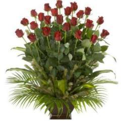 Long stem red rose arrangement in ceramic