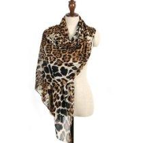 Valentine Chiffon Leopard Shawl Scarf