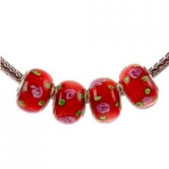 Murano Style Glass Lampwork Bead Fits Pandora Red