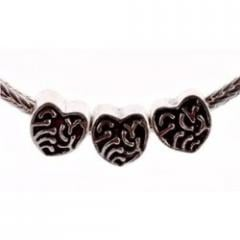 Antique Silver Plated Bead Fits Pandora Heart