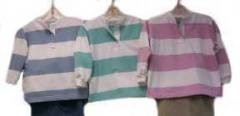 Girls' Long Sleeve Striped French Terry