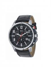 Men's Large Black Chrono With Leather Strap