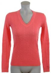 Womens Cable Knit Cotton Logo Sweater Tommy