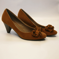 """Brown """"Suede"""" Pump with Bow"""