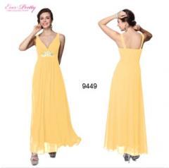 Sexy V-neck Yellow Rhinestone Long Evening Dress