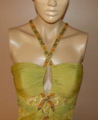 Janique by kouroush elegant green beaded elegant