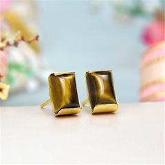 14k Yellow Gold Hologram Tiger Eye Stud Earrings