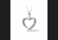 10K White Gold, Diamond Accent Heart Pendant