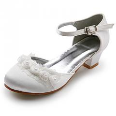 Upper low heel girls wedding shoes