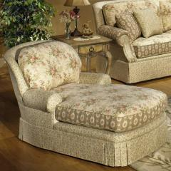 Chaise with Rolled Arms and Skirt