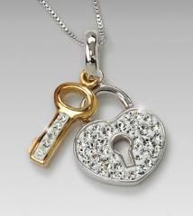 White Swarovski Crystal Heart & Key