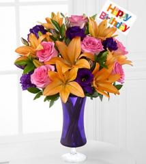 Blooming Birthday Rose & Lily Bouquet BD04