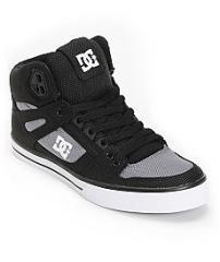 DC Spartan Hi WC TX Black & Grey Canvas Skate Shoe