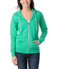 Zine Girls Deep Mint Green Zip Up Hoodie