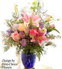 Stargazers, pink, lavender & peach roses,