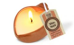 HeartShell Porcelain Soy Candle, White Peach