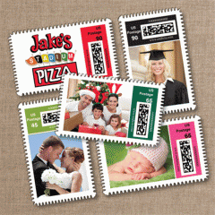 Letter customized postage stamps