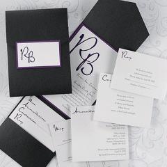 Black and white shimmer invitation