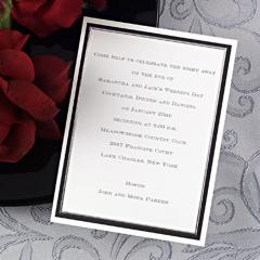 Black and silver engagement invitations