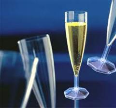 Disposable plastic wineglasses