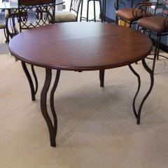 "48"" Round Wood and Metal Table"