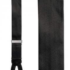 Black silk herringbone pattern formal braces