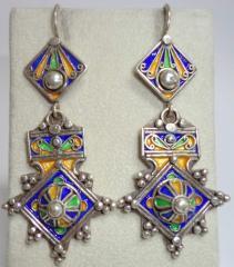 SILVER Colored Enamel Moroccan Berber Ethnic