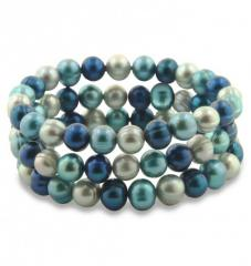 Set of 3 8-9MM Blue Moon Round Ringed Pearl